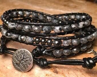 Labradorite - Leather Wrap Beaded Bracelet