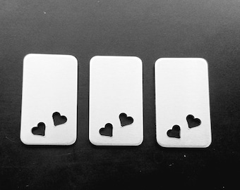 Aluminum 1 1/2 x 7/8 Inch with Two 1/4 inch Heart Cutouts Rectangle Blank, 14g Aluminum Hand Stamping Blanks Supplies, Jewelry Supplies