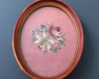 SALE / vintage needlepoint floral wall decor / oval frame / tray