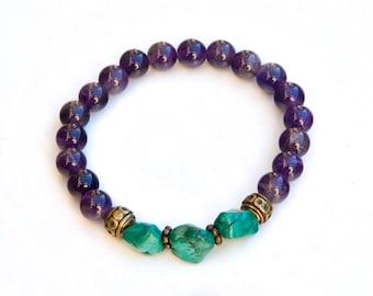 amethyst bracelet, purple bracelet, amethyst jewelry, amethyst, gemstone bracelet, birthstone bracelet, healing bracelet, beaded bracelet