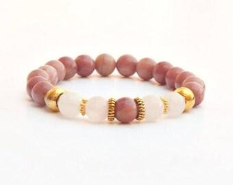 Rhodochrosite bracelet, women's bracelet, rhodochrosite, jewelry, pink bracelet, pink stone bracelet, gemstone bracelet, pink bracelet