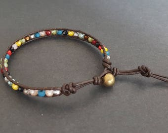 Colorful Crystal  Brown   Leather Bracelet
