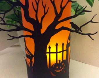 Halloween luminarie, Halloween decorations, Halloween party prop, Halloween candles, Halloween decor, Halloween gift, mantle piece set