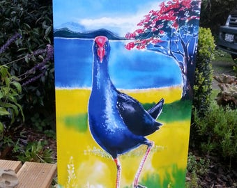 New Zealand PUKEKO Bird, Pohutukawa tree, OUTDOOR Wall ART Panel from my original silk painting, Outside art, Garden Art, New Zealand bird