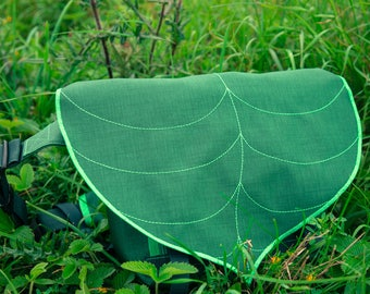 Dark Green Leaf Bike Messenger Bag / Waterproof Bag / Cycling Backpack / Lightweight Bag / Bike Bag / Bicycle Bag /Backpack  / Messenger Bag
