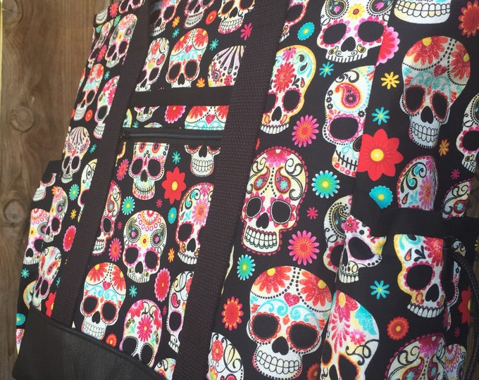 Reserve listing for Tammy Teacher Tote Bag, Sugar Skull Travel Tote, Leather Bottom Large Tote Bag with Pockets, Professional Tote