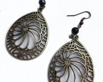 Bronze Filagree Earrings - Everyday Jewelry - Cool Gift for Her - Bronze Dangle Earrings - Minimalist