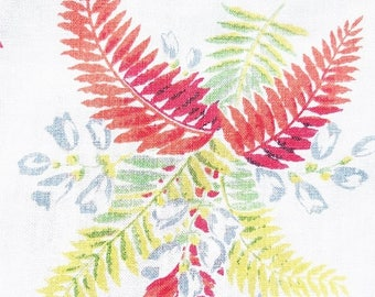 """ON SALE Vintage Linen Tablecloth 50""""x 50"""" ~ Multicolored Ferns, On a Bright White Background, Floral, Cottage, Red, Chartreuse, Mid Century"""