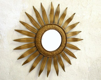 Large Spanish Mid Century SUNBURST Metallic Mirror-Spanish Sunburst Mirror-Vintage Sunburst Mirror-Ultimate Design Statement - Vintage Decor