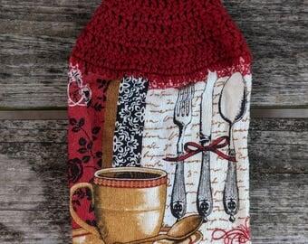 Crochet Top Towel, Hanging Hand Towel, Kitchen Towel, Dish Towel, Coffee, Silverware