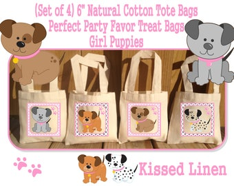 "Girly Puppies Pups Dogs Bones Paws Cute Girl Birthday Party Treat Favor Gift Bags Mini 6""x6"" Natural Cotton Totes Children Kids"