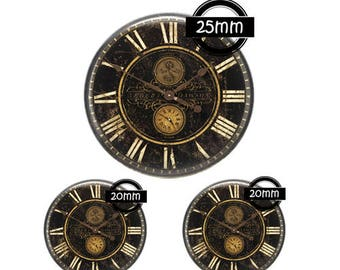 Set 25MM-20mm GLASS, 3 Glass Cabochons Ref 851 clock