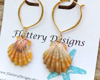 Hawaiian Sunrise Shell Gold Lotus Hoop Earrings
