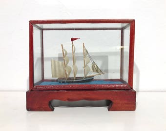 Miniature Model Sailing Ship in Wood and Glass Case