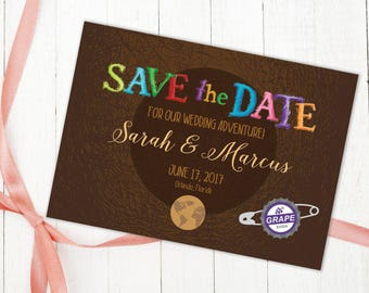 Disney UP Adventure Book Wedding Save the Date, Printable Invitation Design, Our Greatest Adventure Inspired by Carl & Ellie, Paradise Falls