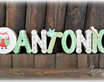 3d name, letters, child room decoration, decorative name, gift for him