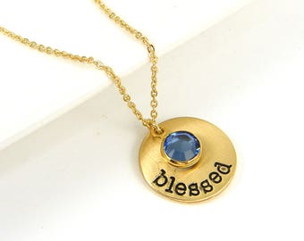Gold Blessed Necklace, Birthstone Blessed Charm Necklace |NB2-53