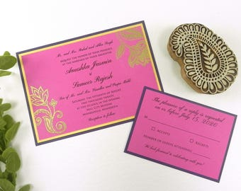 Floral Paisley Wedding Invitation 4 Piece Set- Style 053