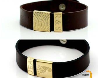 Men's monogrammed leather Personalized Finger print Bracelet.Dad gift. Mens fingerprint bracelet. Fathers day gift.