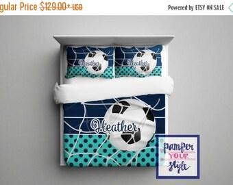 ON SALE Custom Soccer Comforter or Duvet - Soccer Bedding Customized in any color - Monogrammed Soccer Bedding, Soccer Comforter