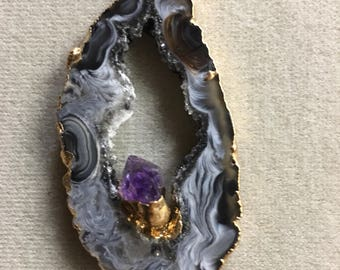 Black Agate Geode Necklace