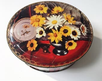 Vintage 1950s Edward Sharp & Sons Toffee or Confectionary Tin with Yellow Daisy Design