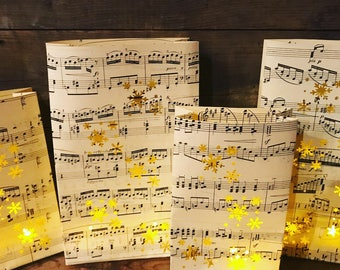 10 Snowflake Luminaries, 10 Bags for Parties, Winter Weddings & Events, (Made to Order) Sheet Music, Unique Snowflake Decorations
