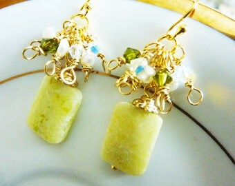 Yellow Butter Rectangular Jade Earrings With Gold Cluster of White AB Crystal and Olive Swarovski Crystals and Pearls