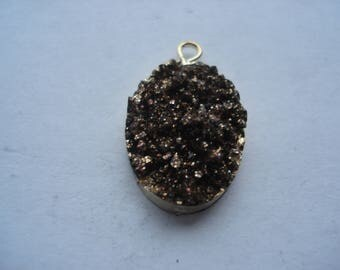 22mm Resin Druzy / Drusy Charm, Oval Gold Plated Black Glitter Charm, C289