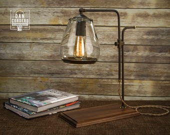 Glass Shade Edison Bulb Table Lamp | Bronze | Desk Lamp | Edison Light Bulb  |