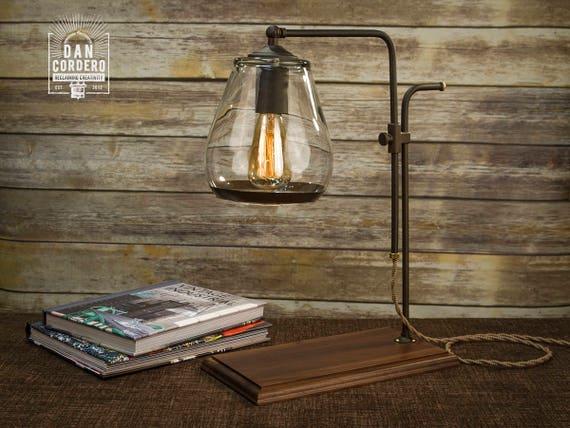 Glass Shade Edison Bulb Table Lamp Bronze Desk Lamp