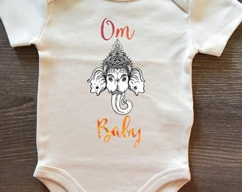 Om Baby, Ganesha, Elephant, Yoga, Baby, Girl, Boy, Infant, Toddler, Newborn, Organic, Natural, Bodysuit, Outfit, One Piece, Layette, Clothes
