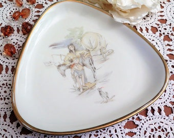 Alka Kunst Dish - Mid Century Dish - Triangular Porcelain Dish - Gypsy Dish - Woman with Horse - Bavarian - West German - Trinket Tray - 60s