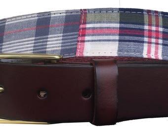 Classic Plaid Leather Belt / Leather Belt / Canvas Belt / Preppy Webbing Belt for Men, Women and kids/ Multi Color Plaid Fabric/ Madras Belt