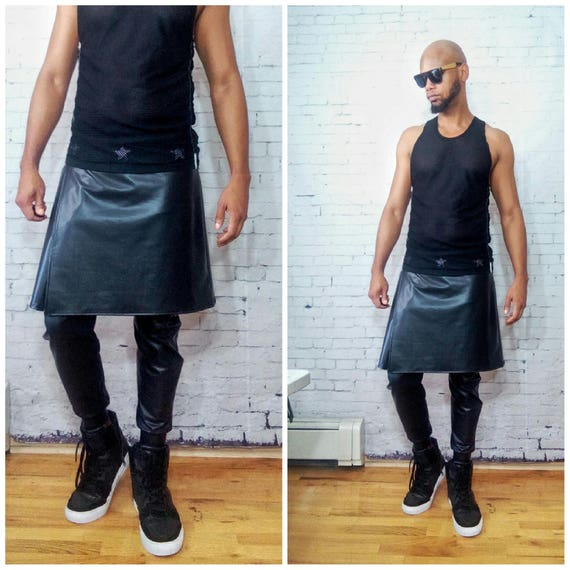 Coated Jersey Attached  Kilted Jogger  Faux Leather Inspired By -foG ,Rick Owens,Y3,Yeezy,Helmut Lang