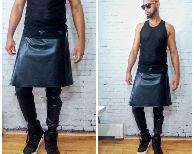 Coated Jersey Kilted Jogger Kilt and jogger attached Mens Jogger With Kilt Overlay in Coated Jersey Faux Leather Look Fabric foG Rick owens
