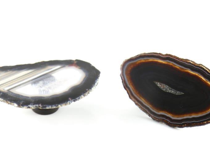 Black Agate Knob-Natural Agate Knob--Rustic Home Decor--Rustic Decor