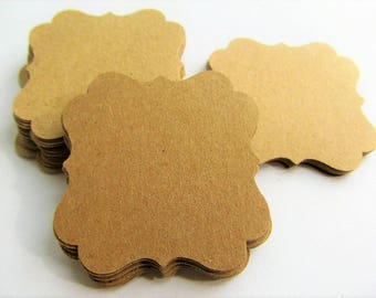 Bracket tags-Set of 50- 2 x 2 inches - KRAFT - Paper Tags, Gift Tags, DIY Gift Tags, Wedding Favor Tags