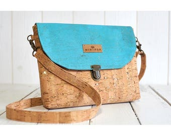 Shoulder bag vegan leather flap turquoise soft and sweet, eco-friendly and ethical gold and natural cork.