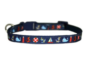 "Nautical 3/8"" or 5/8"" Teacup/Small Dog or 3/8"" Cat Navy Blue Dog Collar"