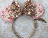 Floral Mouse Ears, Sequin Mouse Ears, Mickey Mouse Ears, Mouse Ears Headband, Glitter Rose Gold Mouse Ears, Disney Vacation