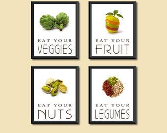 Healthy Diet Eat Your Good Foods Kitchen Art Decor DIGITAL PRINTS Set of Four 5 x 7s