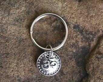 Om Yoga Small Silver Keychain Gifts Under 5
