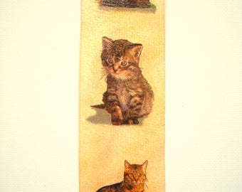 Bookmark handmade collages cats.