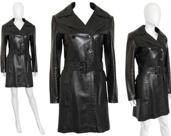 ALAIA 1990s Vintage Belted Leather Coat Dark Brown Azzedine Alaia US Size 4-6 XS Small