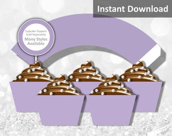 Solid Lavender Purple Cupcake Wrapper Instant Download, Party Decorations