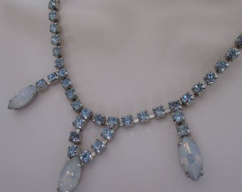 Vintage Moonstone and Pale Blue Rhinestone Choker Necklace, Hook Closure, 1940's Necklace, Adjustable, Holiday Jewelry, Gift for Her