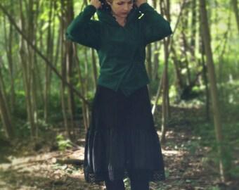 forest green fleece jacket/vest with Pixie hood