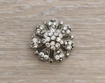 Rhinestone Flower Brooch, Bridal Brooch