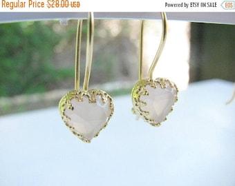 SALE - Rose quartzs earrings - Gold earrings - Heart dangles - Love earrings - Gift for Her - Birthday gift - Heart dangle earrings